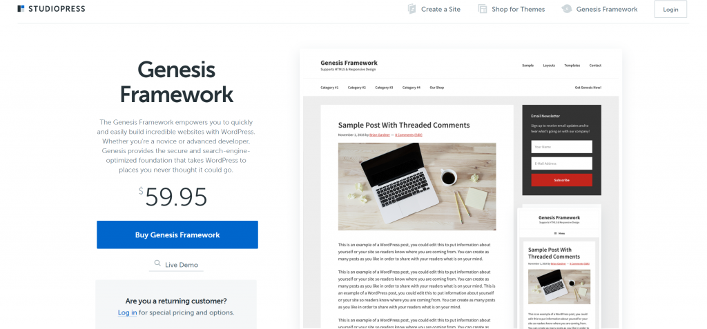 Genesis Frameworkのスクリーンショット